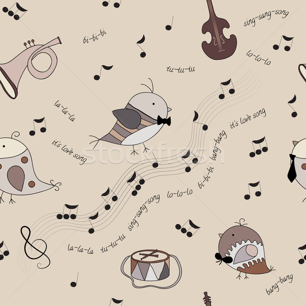 Madarak hangszerek jegyzetek dal végtelenített textúra Stock fotó © LittleCuckoo