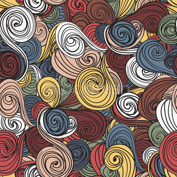 Seamless wave hand-drawn pattern, waves background Stock photo © LittleCuckoo