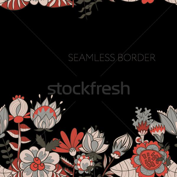 Fronteira abstrato flores ornamento padrão cartão Foto stock © LittleCuckoo