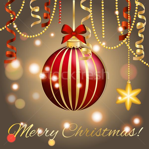 Año nuevo tarjeta de felicitación Navidad pelota arco cinta Foto stock © LittleCuckoo