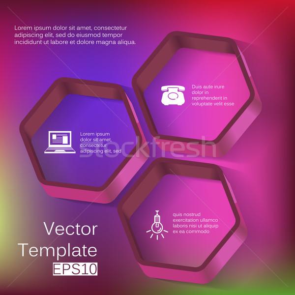 ベクトル 3D 六角形 要素 インフォグラフィック アイコン ストックフォト © LittleCuckoo