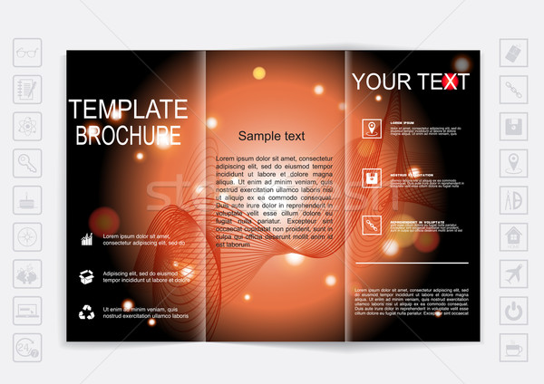 Tri-Fold Brochure mock up vector design. background with shiny elements.  Stock photo © LittleCuckoo