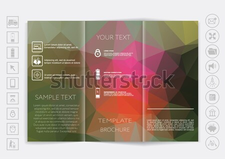 Tri-Fold Brochure mock up vector design. Polygonal background.  Stock photo © LittleCuckoo
