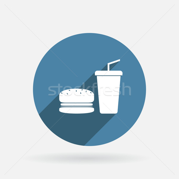burger and paper cup. Circle blue icon with shadow. Stock photo © LittleCuckoo