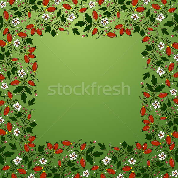 frame border seamless texture with berries barberry, flowers, leaves Stock photo © LittleCuckoo