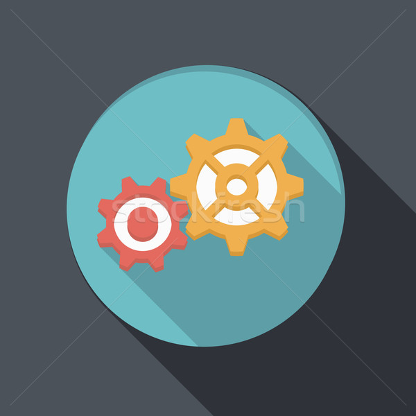 flat icon with a shadow, symbol settings Stock photo © LittleCuckoo
