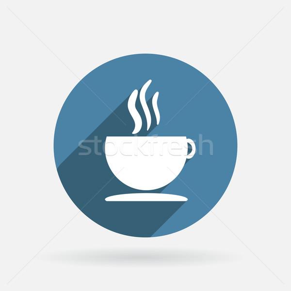 Fincan sıcak içecek daire mavi ikon gölge Stok fotoğraf © LittleCuckoo
