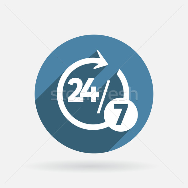 character 24 7. Circle blue icon with shadow. Stock photo © LittleCuckoo