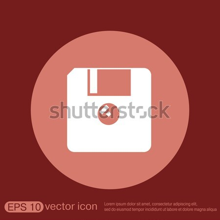 floppy, diskette. Circle blue icon with shadow. Stock photo © LittleCuckoo