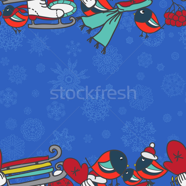 ストックフォト: 冬 · シームレス · 国境 · ミトン · キャップ · スケート