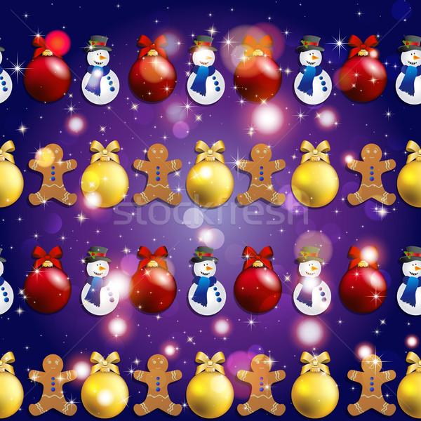 Новый год шаблон рождественская елка игрушками Колобок снеговик Сток-фото © LittleCuckoo