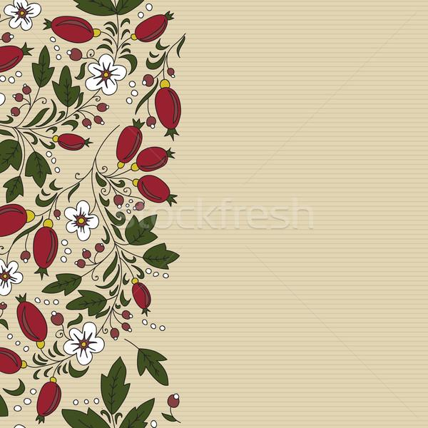Gestreept witte bloem beige achtergrond wenskaart blad Stockfoto © LittleCuckoo