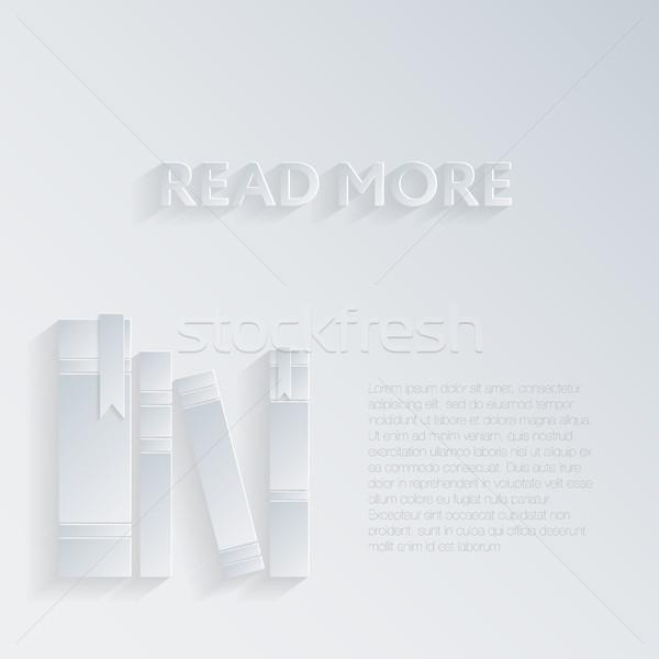 Illusztráció árnyék könyvek fehér papír művészet Stock fotó © LittleCuckoo