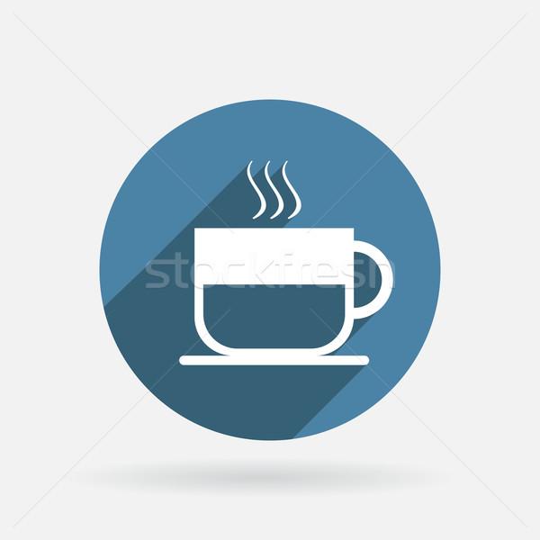 Кубок горячий напиток круга синий икона тень Сток-фото © LittleCuckoo