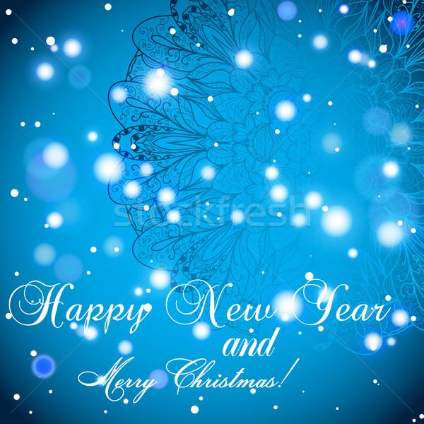 Capodanno biglietto d'auguri complimenti Natale cerchio pizzo Foto d'archivio © LittleCuckoo