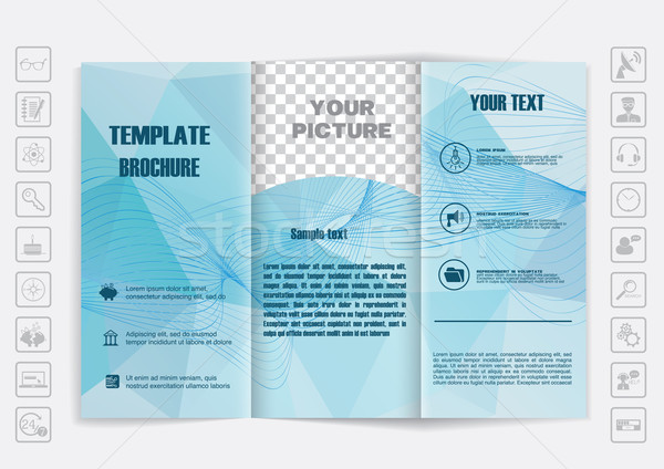 Tri-Fold Brochure mock up vector design. Polygonal background with waves and shiny elements.  Stock photo © LittleCuckoo