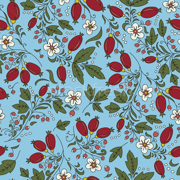 seamless with red berries barberry, flowers Stock photo © LittleCuckoo