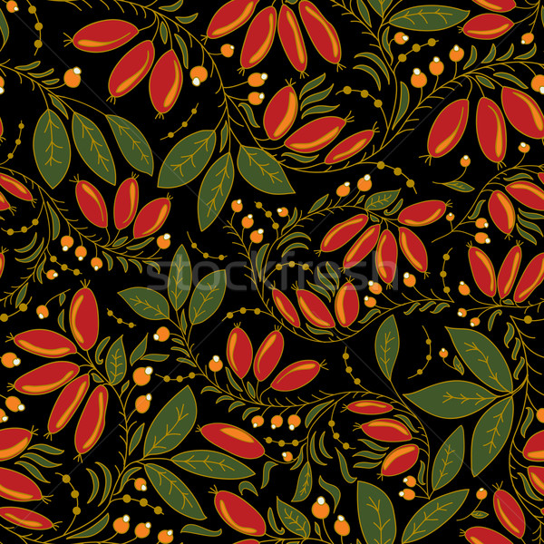 seamless texture barberry  on a black background Stock photo © LittleCuckoo