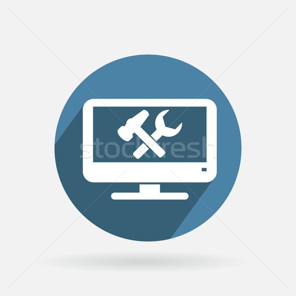 Kör kék ikon monitor szimbólum beállítások Stock fotó © LittleCuckoo