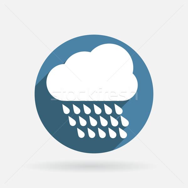 Wolk regen cirkel Blauw icon schaduw Stockfoto © LittleCuckoo
