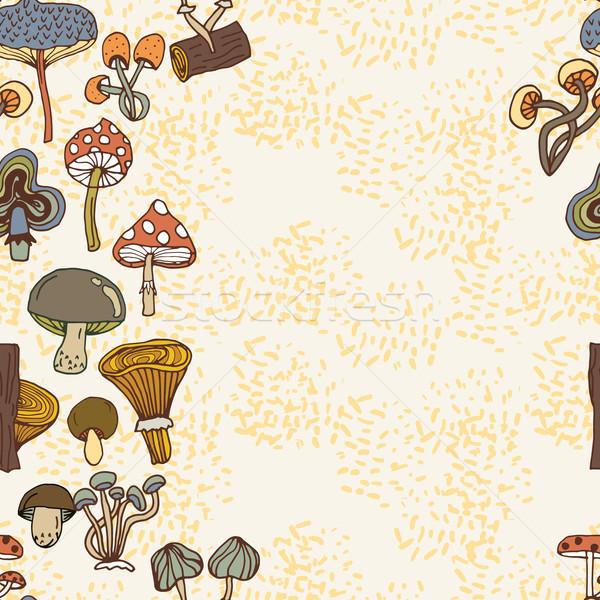 シームレス ベクトル 国境 異なる キノコ 森林 ストックフォト © LittleCuckoo