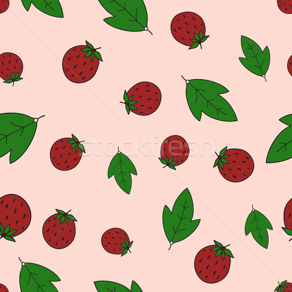 Seamless background with strawberry and leaves Stock photo © LittleCuckoo