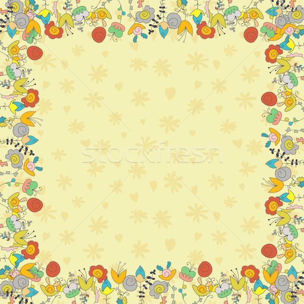 Bege cartão flores neutro silhueta margaridas Foto stock © LittleCuckoo