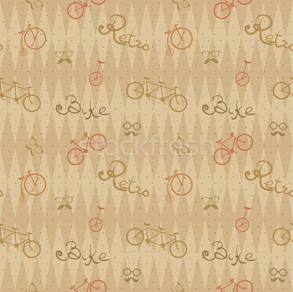 Retro bicicletta pattern senza soluzione di continuità texture Foto d'archivio © LittleCuckoo