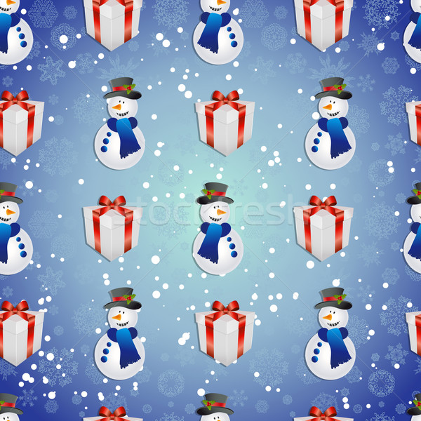 New year pattern with snowman and gift. Christmas texture fill  Stock photo © LittleCuckoo