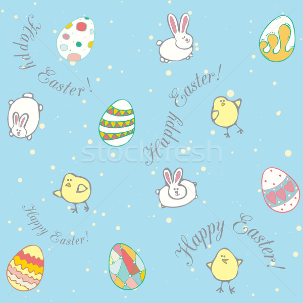 Easter decorative eggs, chickens, rabbits Stock photo © LittleCuckoo