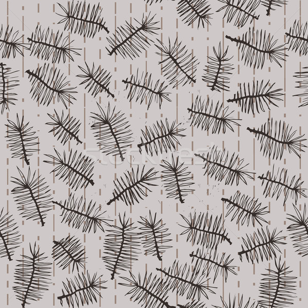 Stock photo: fir branches seamless pattern