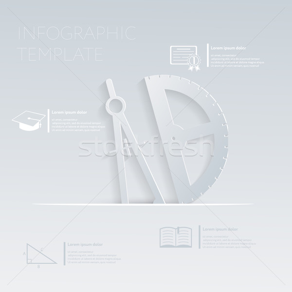 vector illustration, compass and protractor. template graphic or website layout Stock photo © LittleCuckoo