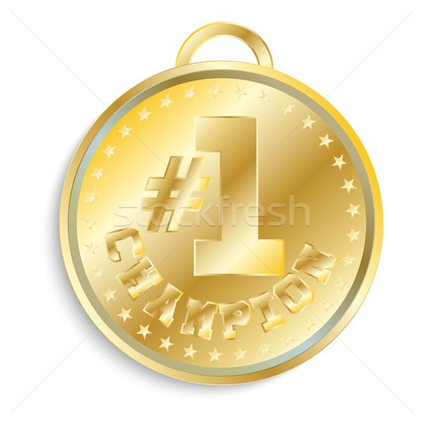 Altın madalya yalıtılmış nesne beyaz altın Stok fotoğraf © LittleCuckoo