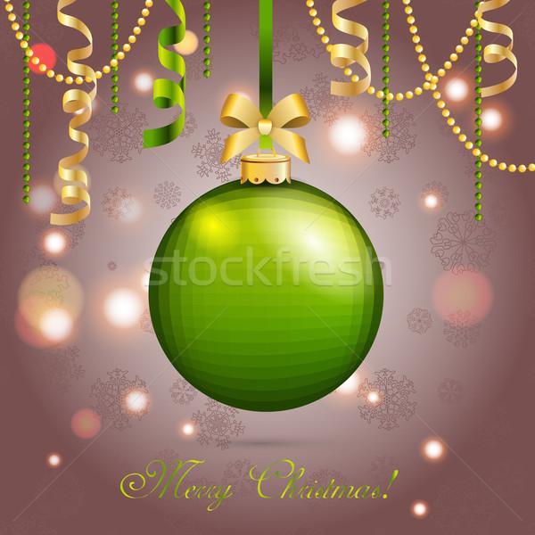グリーティングカード クリスマス ボール 弓 リボン ストックフォト © LittleCuckoo