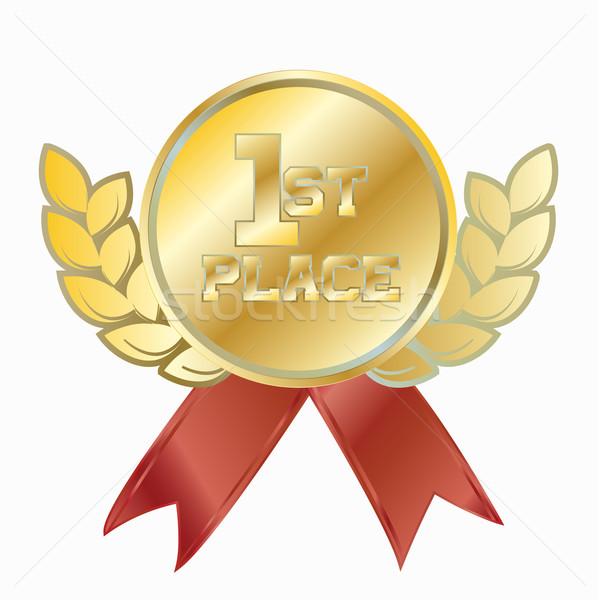 Ouro prêmio primeiro lugar vermelho sucesso Foto stock © LittleCuckoo
