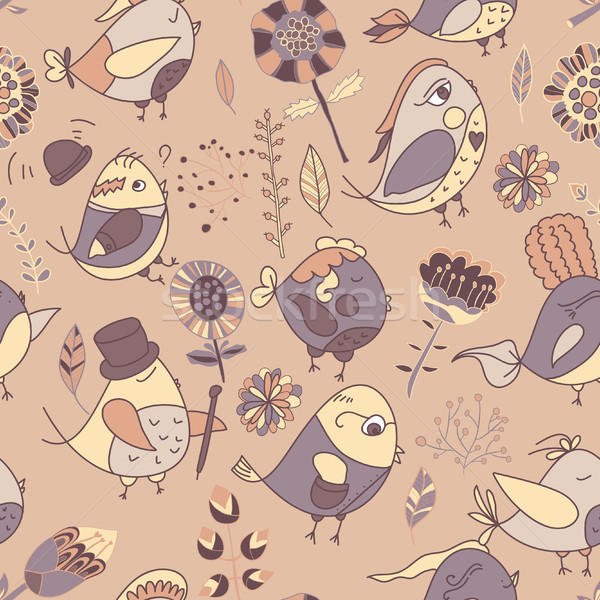 Seamless texture with flowers and birds Stock photo © LittleCuckoo