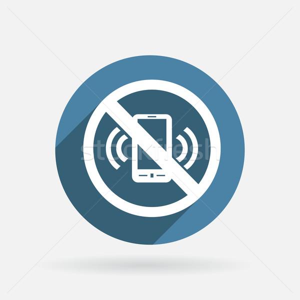 Interdit téléphone portable cercle bleu icône ombre Photo stock © LittleCuckoo