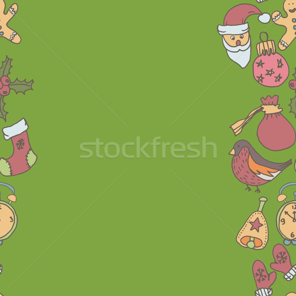 New year seamless border. Endless Christmas template Stock photo © LittleCuckoo