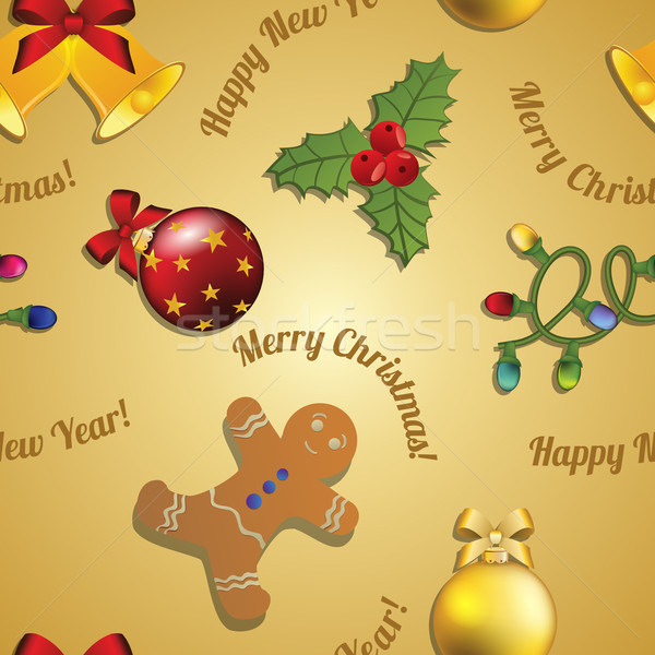 New year pattern gingerbread man, mistletoe, garland and Christmas ball Stock photo © LittleCuckoo
