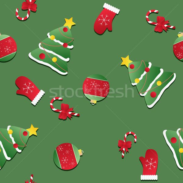 Sin costura textura rojo mitones Navidad Foto stock © LittleCuckoo