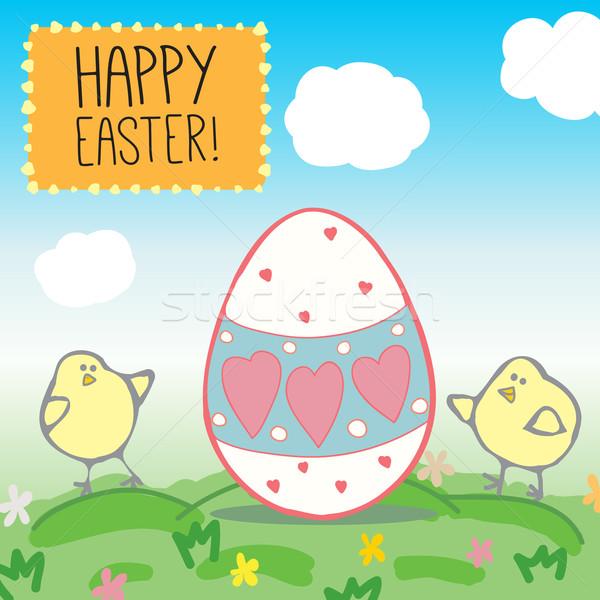 Pasqua biglietto d'auguri illustrazione cartolina decorativo uovo Foto d'archivio © LittleCuckoo