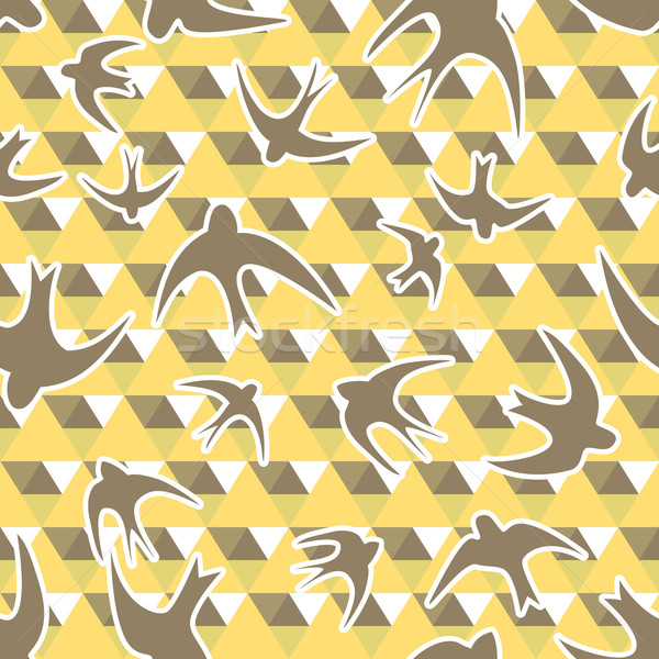 Seamless texture with the swallows, and triangles Stock photo © LittleCuckoo