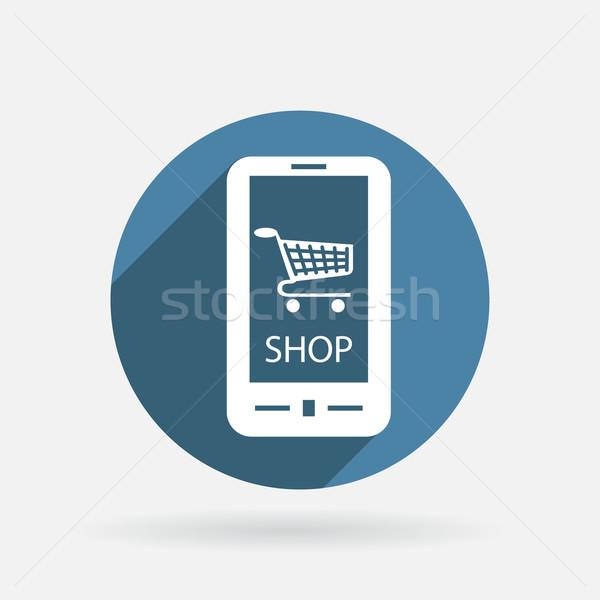 Símbolo carrinho loja on-line círculo azul ícone Foto stock © LittleCuckoo