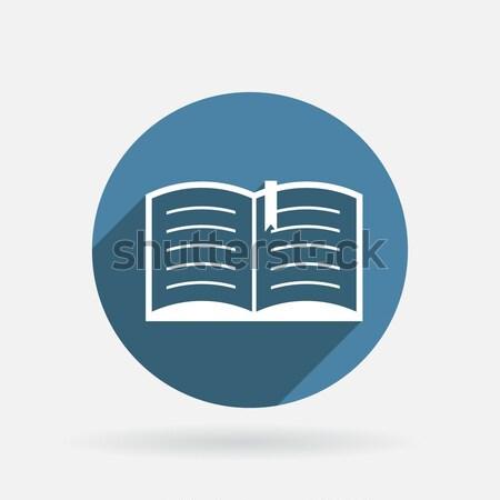 Nyitott könyv kör kék ikon árnyék felirat Stock fotó © LittleCuckoo