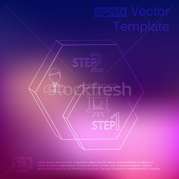 Vector subtle elements of infographics. Thin style. On blur background Stock photo © LittleCuckoo