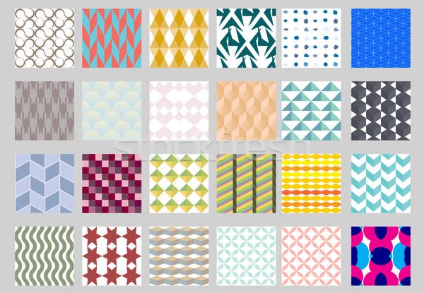 Zestaw proste geometryczny wzór bezszwowy kolorowy tekstury Zdjęcia stock © LittleCuckoo
