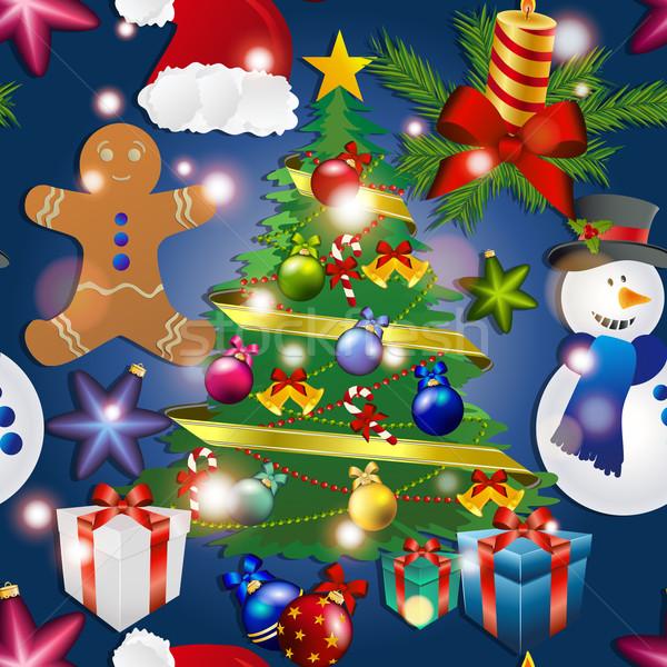 Nouvelle année modèle bonhomme de neige arbre de noël jouet gingerbread man Photo stock © LittleCuckoo