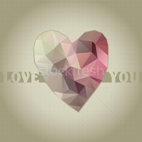 Foto stock: Polígono · coração · cartão · valentine · dia · abstrato