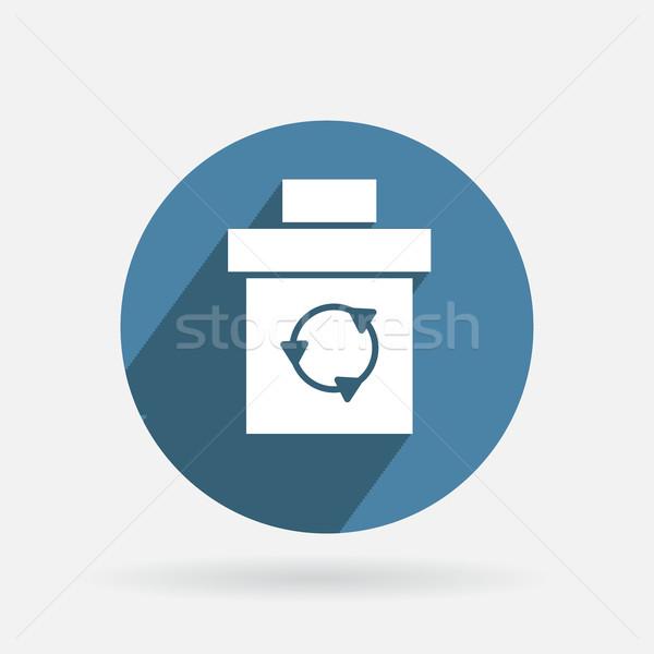 Círculo azul ícone sombra cesta lixo Foto stock © LittleCuckoo