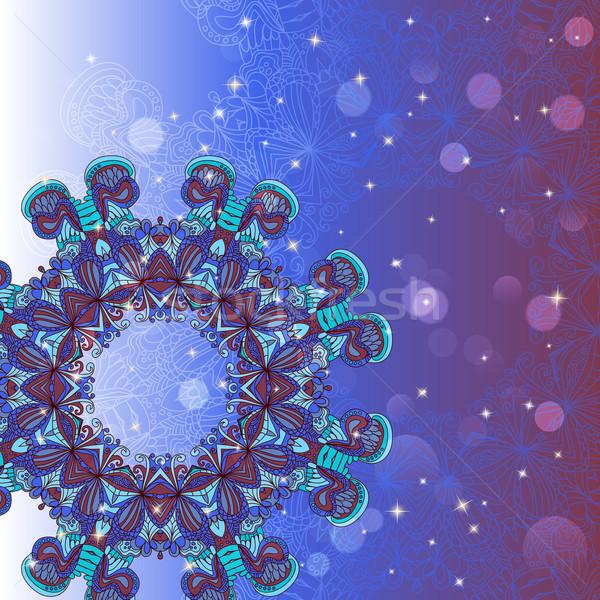 Circle mandala lace hand-drawn kaleidoscope ornament vector card Stock photo © LittleCuckoo